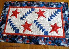 Patriotic Table Runner Quilted Table Runner