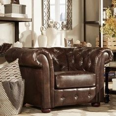 Knightsbridge Brown Bonded Leather Tufted Scroll Arm Chesterfield Chair by iNSPIRE Q Artisan Chesterfield Armchair, Leather Chesterfield, Leather Sofa, Bonded Leather, Brown Leather, Chair Fabric, Diy Chair, Home Office Design, Library Design