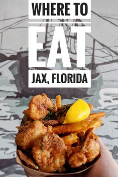 Where To Eat in Jacksonville Florida with 10 of some of the best restaurants including Orsay Timoti's Seafood Shack Maple Street Biscuits Metro Diner Candy Apple Cafe Bold Bean Coffee Gilberts Hot Chicken and Town Hall. Florida Food, Florida Travel, Usa Travel, Usa Roadtrip, Naples Florida, Tampa Florida, Beach Travel, Jacksonville Restaurants, Jacksonville Beach Florida