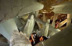 Giant selenite crystal cave, deep in the earth below Chihuahua, Mexico.  #selenite #crystals