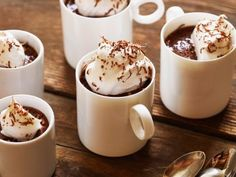 No bake choc pudding with coffee. Blend choc chips, raw eggs, heavy cream and hot coffee. Let it chill and serve