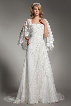$375.984 Modest Slim A-Line Lace Wedding Dress -Wedding Dresses-DeniseDress