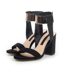 Metallic Ankle Strap Velcro High-Heeled Sandals