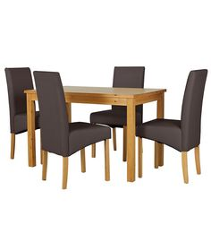 Buy Lincoln Oak Effect 120cm Dining Table And 4 Chocolate Chairs At Argos Co