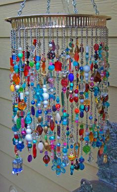 beads Adding some extra jingle and sparkle to your backyard with beaded wind chime does beautify your garden. So lets make a DIY beaded wind chime projects with some amounts of beautiful beads Diy And Crafts, Arts And Crafts, Summer Crafts, Paper Crafts, Diy Wind Chimes, Glass Wind Chimes, Crystal Wind Chimes, Homemade Wind Chimes, Deco Boheme