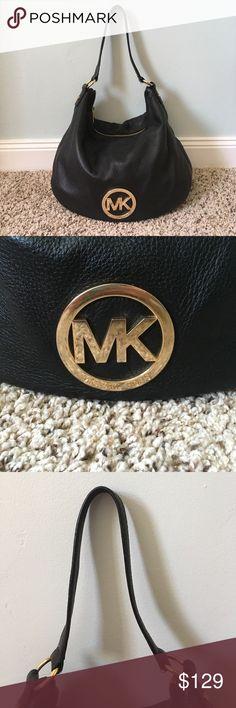 """MK black leather shoulder bag Soft buttery leather Michael Kors shoulder bag with gold hardware. 14"""" x 13 1/2"""" DDJ7313 Michael Kors Bags Shoulder Bags"""