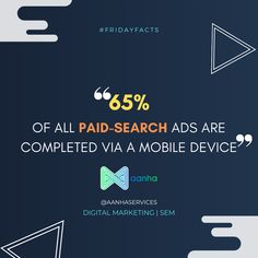 65% of all paid-search ads are completed via a mobile device! . . . #fridayfacts #fridaythoughts #fridayfeels #aanhaservices #aanha #digitalmarketing #didyouknow #sem #paidsearch #ads #ppc #aanhadm Friday Facts, Search Ads, Did You Know, Digital Marketing, Thoughts, Feelings, Ideas
