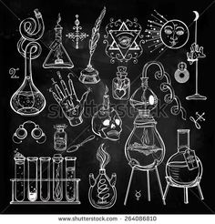 Set of trendy Alchemy lab symbols collection on chalkboard. Religion, philosophy, spirituality, occultism, chemistry, science, alchemy and magic. Design and tattoo elements. Vector illustration. - stock vector