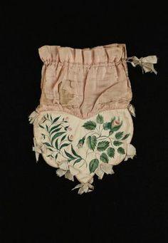 Drawstring bag English, early 19th century England DIMENSIONS 28.5 x 23.3 cm (11 1/4 x 9 3/16 in. ) MEDIUM OR TECHNIQUE Silk, cotton, pigmen...