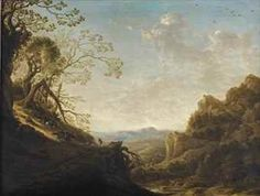 """HERMAN SAFTLEVEN ( Rotterdam 1609 - Utrecht 1685). AN EXTENSIVE MOUNTAINOUS LANDSCAPE WITH TRAVELLERS AND A SHEPHERD WITH HIS FLOCK ON A PATH, A VALLEY BEYOND. oil on panel. 37,9 ×50,5 cm. Signed: """" HS f """" ( monogrammist) lower centre. Christie's. Amsterdam. Old Masters. 15-16/11/2016. Sale 3066. Lot 44. Estimate: 6.000/ 8.000 €. Price realized: 11.875 €."""