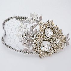Cheryl KIng Couture bridal hair accessories & jewelry. Fabulous bridal headpiece offers both, boho chic style & vintage glamour.  https://perfectdetails.com/lucinda.htm