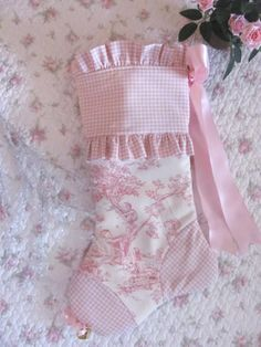LOVE LOVE LOVE this Pink Toile Stocking fro The Celtic Cottage on Etsy! It made a fantastic stocking for Sophie!