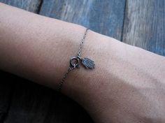 My Dainty Hamsa Bracelet on black rhodium by charlieandmarcelle, $14.00