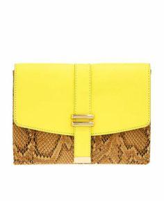 New Ann Taylor Lime Yellow Exotic Snakeskin Envelope Clutch Purse | eBay