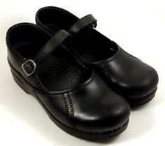 DANSKO Women's Shoes ~ Black Leather Clog Style Mary Janes ~ Euro 37, US 7.5 M #Dansko #MaryJanes
