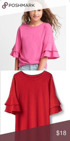 GAP ruffle sleeve tee girls (xxl) This beautiful red color ruffle sleeves top girls (XXL) fit well on petite XS. Latest trend with beautiful red color GAP Tops Tees - Short Sleeve
