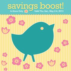 #COUPON! Get 15% off your total purchase (including regular- & sale-priced items) May 2-May 4, 2013!
