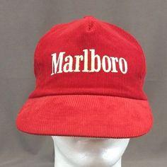 95c768e22b9 Vintage Marlboro Cigarettes Red White Corduroy Trucker Hat Snapback Cap   Marlboro  BaseballCap Marlboro Logo