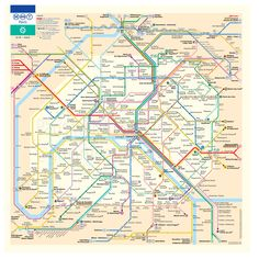 La carte du métro qui indique le temps de marche entre les stations