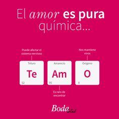 El amor es química, ¿será? <3 Inspírate en bodatotal.com  amor - boda - pareja