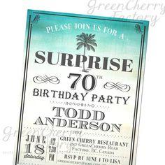 Retro Plum Tree Island Milestone Adult Birthday Invitation - ANY AGE Invites - Vintage Beach Background - Summer Sea Ocean - No.437 via Etsy