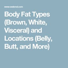 Body Fat Types (Brown, White, Visceral) and Locations (Belly, Butt, and More)