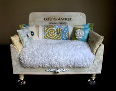 """The Parisian"" in white, yellow, blue, and green with glass bottom legs. http://designercraftgirl.com"