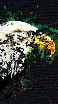All Wall, Eagles, Istanbul, Abstract, Wallpaper, Artwork, Painting, Black, Handgun