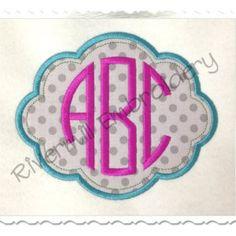 Applique Name or Monogram Frame (#4) Machine Embroidery Design - 4 Sizes