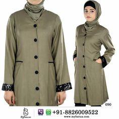 Mariya Rayon Green Muslim Long Tunic | MyBatua Buy now---> Whatsapp: +91-8826009522  #muslimtunic #tunic #muslimkurti #islamictunic #islamickurti #muslim clothes #islamicclothes #muslimclothing #islamicclothing #longtunic #rayon #frontopentunic #mybatua