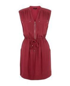 Burgundy Zip Front Shirt Dress  | New Look