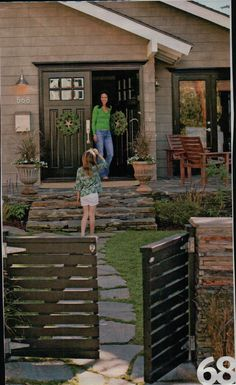 Stacked stone entry with wood gate. Vertical Pallet Garden, Herb Garden Pallet, Pallets Garden, Pallet Gardening, Veg Garden, Pallet Gate, Diy Pallet, Patio, Backyard