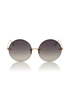 adfac0ff66f Grey Frameless Circle Lens Sunglasses by LINDA FARROW Now Available on Moda  Operandi Circle Lenses