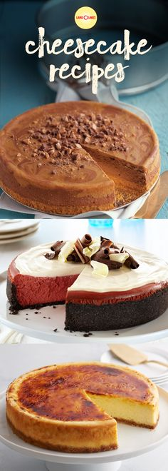 These look yummy 😋 This cheesecake collection offers a variety of recipes ranging in sizes and flavors like chocolate, mint, key lime and New York Style. No Bake Desserts, Just Desserts, Delicious Desserts, Dessert Recipes, Yummy Food, Cheesecakes, Recipe Land, Key Lime, Savoury Cake