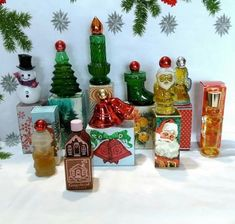 Vintage-Avon-Christmas-Cologne-In-Boxes-Santa-Angel-Bells-Candle-Lot-of-10