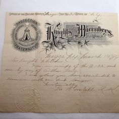 Antique Knights of the Maccabees Letterhead, letter, Insurance, US