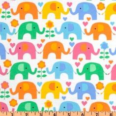 43'' Wide Timeless Treasures Kidz Flannel Elephant Multi Fabric