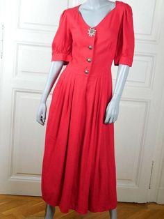German Vintage Trachten Dress, Red Linen Traditional Bavarian Midi Dress, European Prairie Dress, Gunne Sax Octoberfest: Size 14 US, 18 UK by YouLookAmazing on Etsy