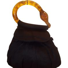 Super Rare vintage 1940's Bakelite swans head bag Bergdoff Goodman handbag