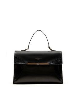 Alberto Guardiani - Bag in Matte Leather with Reptile Details