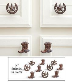 Western Horseshoes and Cowboy Boots Drawer Pulls