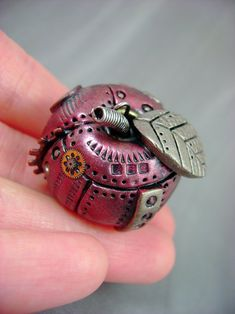 Ruby Red Industrial Apple - Steampunk Polymer Clay - Pendant / Necklace