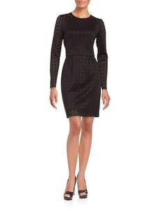 Trina By Trina Turk Geometric Lazer-Cut Sheath Dress Women's Black 10