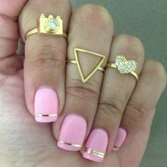 Pink Nails with gold.
