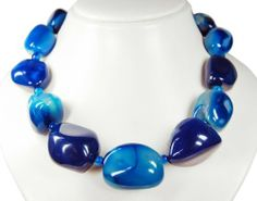 * Amazing Agate * Polished nuggets with beads in between * Gorgeous necklace * Very beautiful gemstones blue coloured * Top * Lovely chain * Wonderful semiprecious stones, unique! * Charming * New * Sunglory, http://www.amazon.co.uk/dp/B00BFTTC9A/ref=cm_sw_r_pi_dp_SzV0sb0JNV2WM