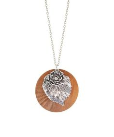 Another great find on #zulily! Silvertone & Wood Leaf Pendant Necklace #zulilyfinds
