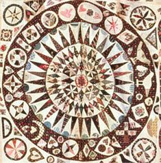 The lovely center medallion of the original Jane Pizar quilt. OMG this is so beautiful and original. I want to let it influence my next applique project. Old Quilts, Antique Quilts, Vintage Quilts, Vintage Sewing, Quilting Projects, Quilting Designs, Applique Designs, Medallion Quilt, Sampler Quilts