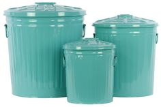 Metal Storage with Classic Garbage Can Design Set of Three Blue
