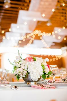 Low Centerpieces in vintage silver bowls by Splendid Stems: WeddingFlowersAlbany.com --  See More on SMP: http://www.StyleMePretty.com/2014/05/30/romantic-cooperstown-farm-wedding/ Leo Timoshuk Photography - leotim.com