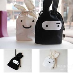 Cute Ninja Rabbit Cloth Tied Mouth Daily Sundries Storage Bag Stuff Bag - US$2.98